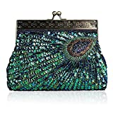 Womens Evening Handbag Fashion Designer Elegant Purse Vintage Clutch Sequin Teal Peacock Unusual Antique Beaded Sequin (Peacock blue)