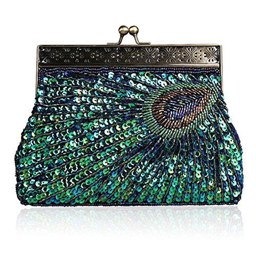 Peacock Tail Vintage Clutch Bags for Women Sequins Beaded Evening Bag Wedding Bridal Party Prom Handbag (Peacock - Clutch Print Vintage