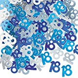 18th Birthday Confetti Table Decoration - Blue & Silver 14g---Amazing item for any type of party, event, ocassion , anniversary, birthday , 18th celebration, Age 18/ 18th Anniversary