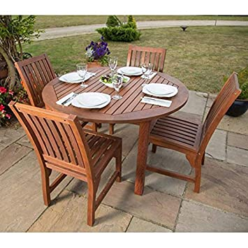 devon hardwood dining set with round table and 4 chairs suitable as rh amazon co uk Outdoor Restaurant Tables and Chairs Outdoor Iron Table and Chairs