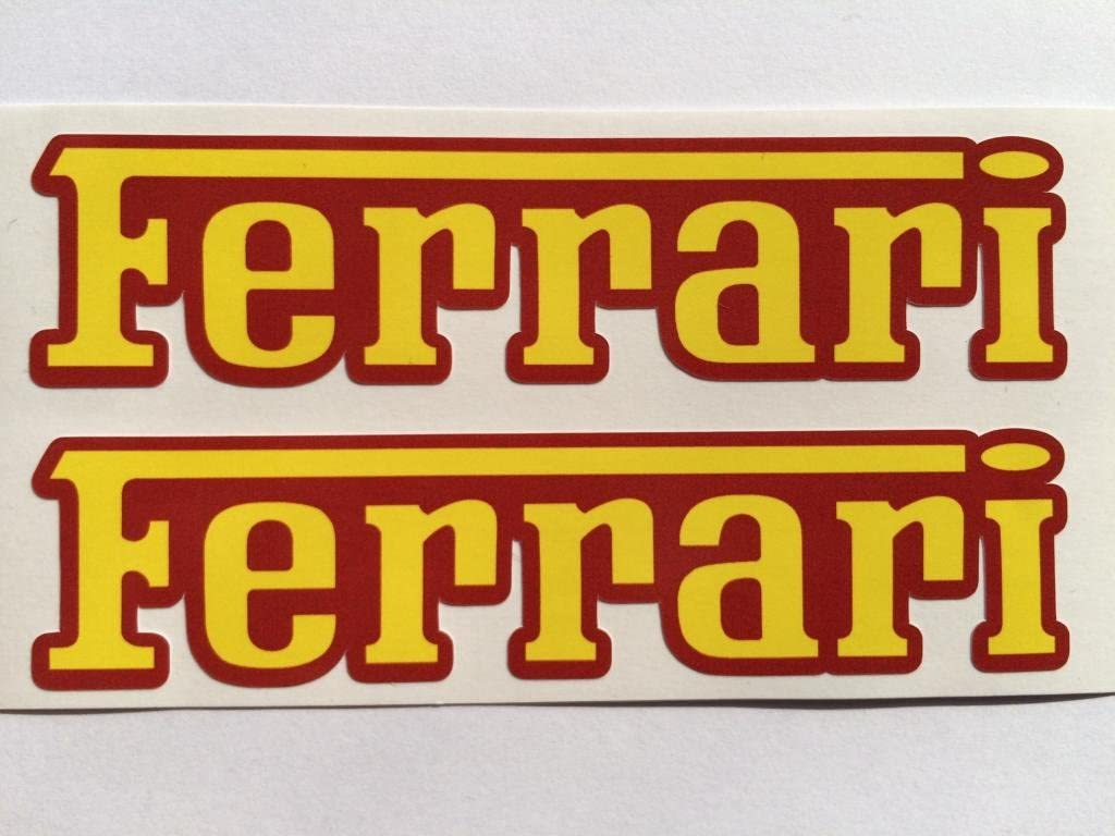 Amazon Com 2 Ferrari Name Yellow On Red Die Cut Decals Automotive