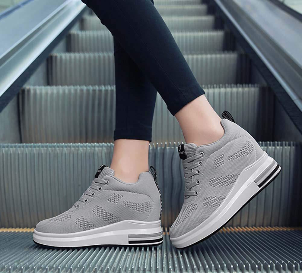Mujer Mujer Mujer Zapatillas Respirables 2018 Nuevos Productos Otoñales Aumentan Los Zapatos Casuales Ligeros (Color : Gris, tamaño : 35 EU) b599ce