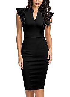 293a688a4da Knitee Women s Ruffle Standing Collar V-Neck Bodycon Cocktail Pencil Dress