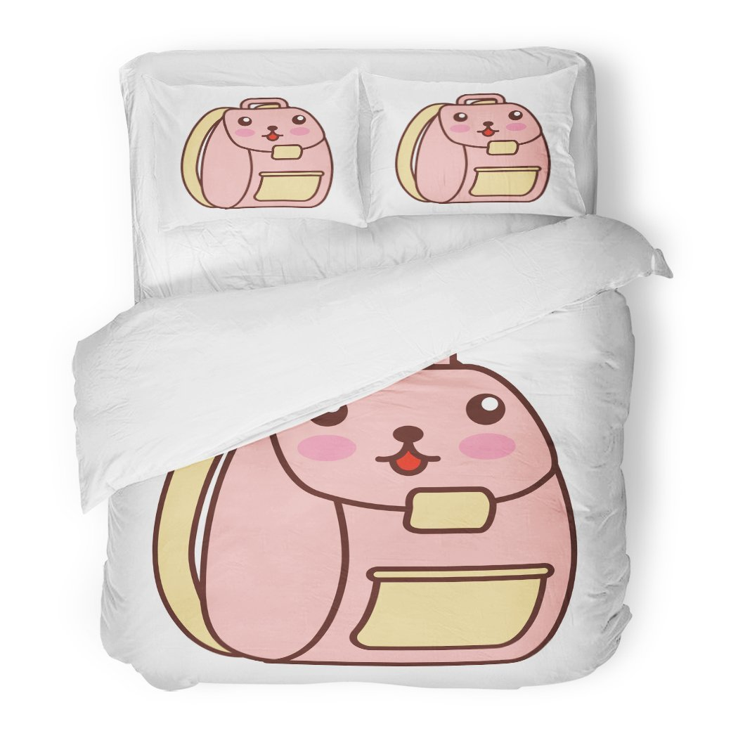 SanChic Duvet Cover Set Backpack School Kawaii Character Adventure Baggage College Comic Decorative Bedding Set with 2 Pillow Shams Full/Queen Size