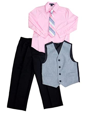 Amazon.com: George Boys Holiday Outfit Pink Dress Shirt Pinstripe ...