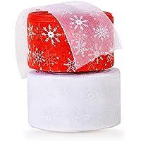 2 Rollos 46m Cintas Tul Nieves Decorativas Navidad