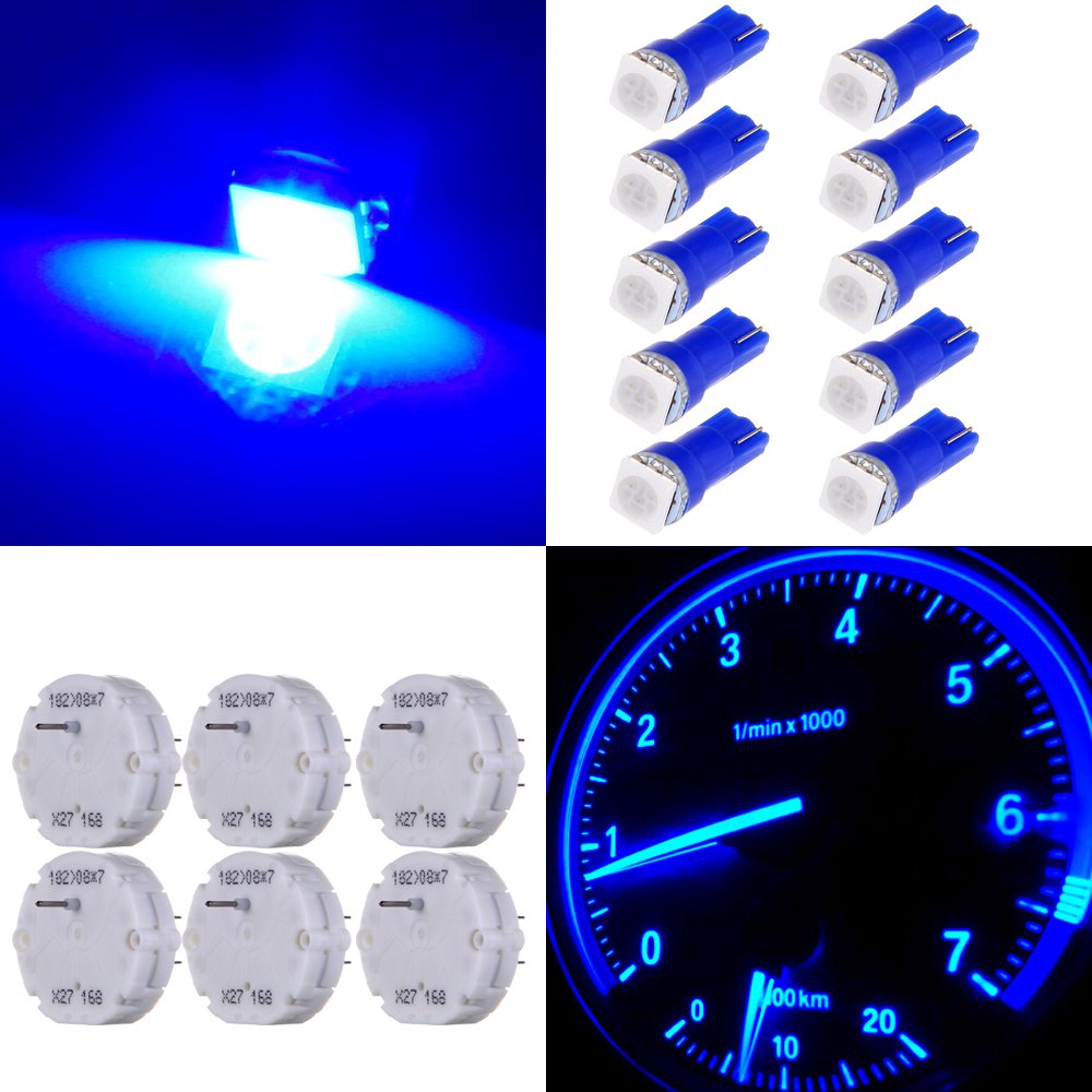 cciyu Stepper Motors X27.168 Instrument Repair Speedometer Gauge Cluster W T5 Wedge Bulbs (6 Pack Stepper Motor with 10Pack Blue T5 LED Bulb) by cciyu