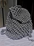 Women Crochet Backpack Bobble Stitch Polyester Cord Yarn Gray Color