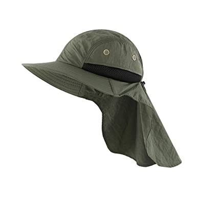 952e2ad7 Magracy Mens Outdoor Wide Brim Sun Hat with Neck Flap Mesh UV Protection  Safari Hat Fishing Hats Amy Green: Amazon.co.uk: Clothing