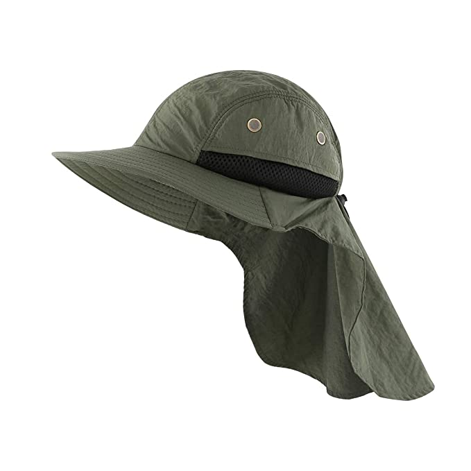 Magracy Unisex Outdoor Wide Brim Sun Hat Summer Safari Boonie Hat Foldable Fishing Hats UV Protection