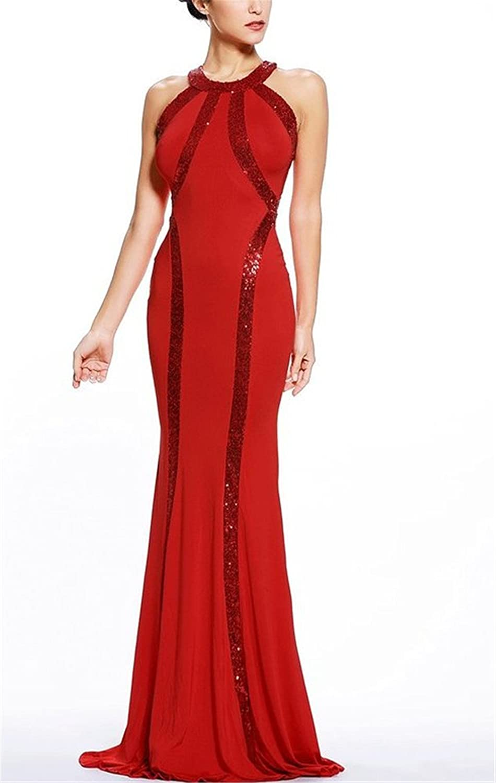 HelloGirls Women's Spring Gorgeous Jersey Sequin Trim Evening Dress Long Gown