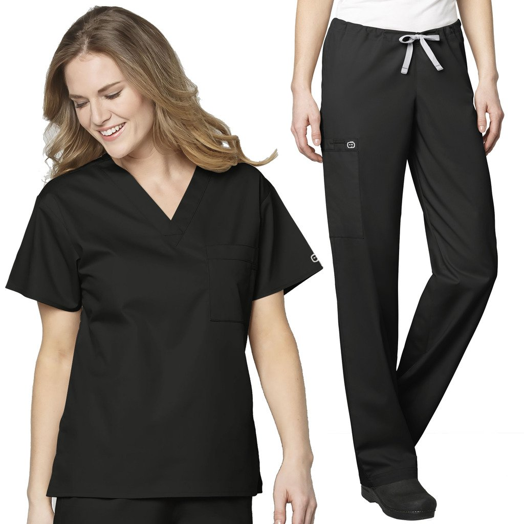 WonderWink Unisex V-Neck Chest Pocket Top & Unisex Drawstring Cargo Pant Set + FREE GIFT SOCKS