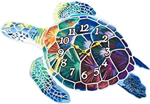 Wall Clock Wood Turtle Decorative 15 Inch Beach Theme Perfect Decor for Kitchen Bathroom Office Rustic Battery Operated Clocks Great Nautical Theme for Bedroom Ocean Decoration Ticking Tropical