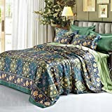 L&M Silk pieces of four sets 100% Pure silk Silk bedding 1.8M rice bed 200 230cm 2.0M bed 220X240cm , blue