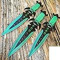 "3 pcs. 7.5"" Ninja Tactical Combat Kunai Throwing Knife Set W/Sheath GREEN Hunting"