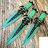 "3 pcs. 7.5"" Ninja Tactical Combat Kunai Throwing Knife Set W/Sheath GREEN Hunting"