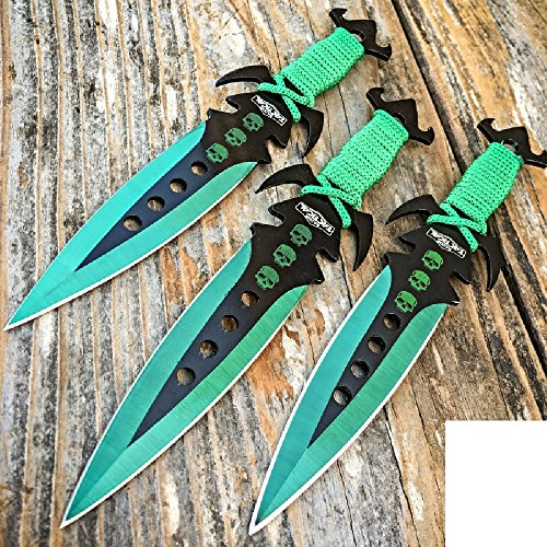 3 pcs. 7.5 Ninja Tactical Combat Kunai Throwing Knife Set W/Sheath GREEN Hunting