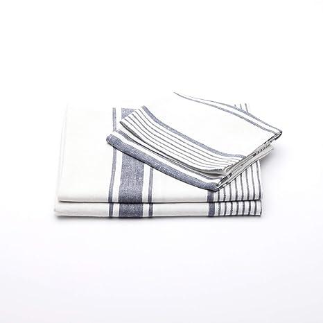 Linenme Juego de Toallas de Ba?o de Lino en Color Añil Blanco Modelo Tuscany, ...