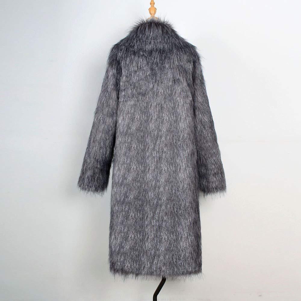 iLXHD Mens Faux Fur Trench Coat Jacket Parka Thicker Warm Outwear Cardigan