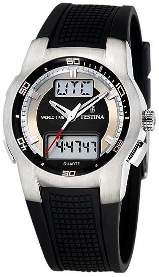 Festina F6738/F - Reloj analógico y digital de cuarzo para hombre con correa de caucho, color negro: Amazon.es: Relojes