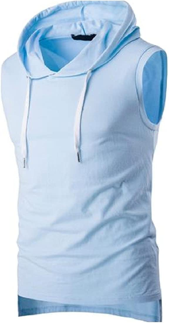 Ruhua Mens Hooded Sports Casual Sleeveless Plus Size T-shirt Vest
