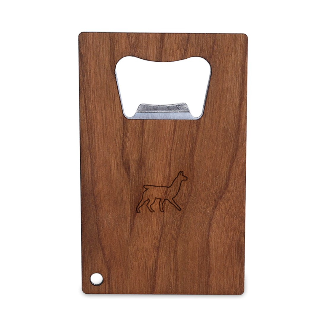 Slim And Wallet Size WOODEN ACCESSORIES COMPANY Credit Card Sized Bottle Opener With Laser Engraved Llama Design Stainless Steel Bottle Opener With Wooden Front Panel