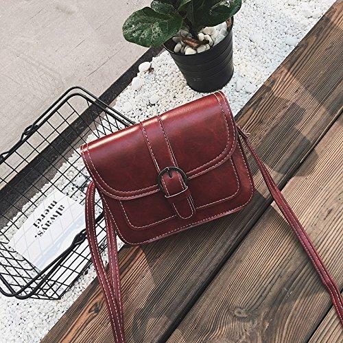 Bolsos nueva versión coreana de la pequeña plaza de aceite retro color sólido Bolsa Bolso Messenger decoración Correa al hombro, Borgoña Red wine