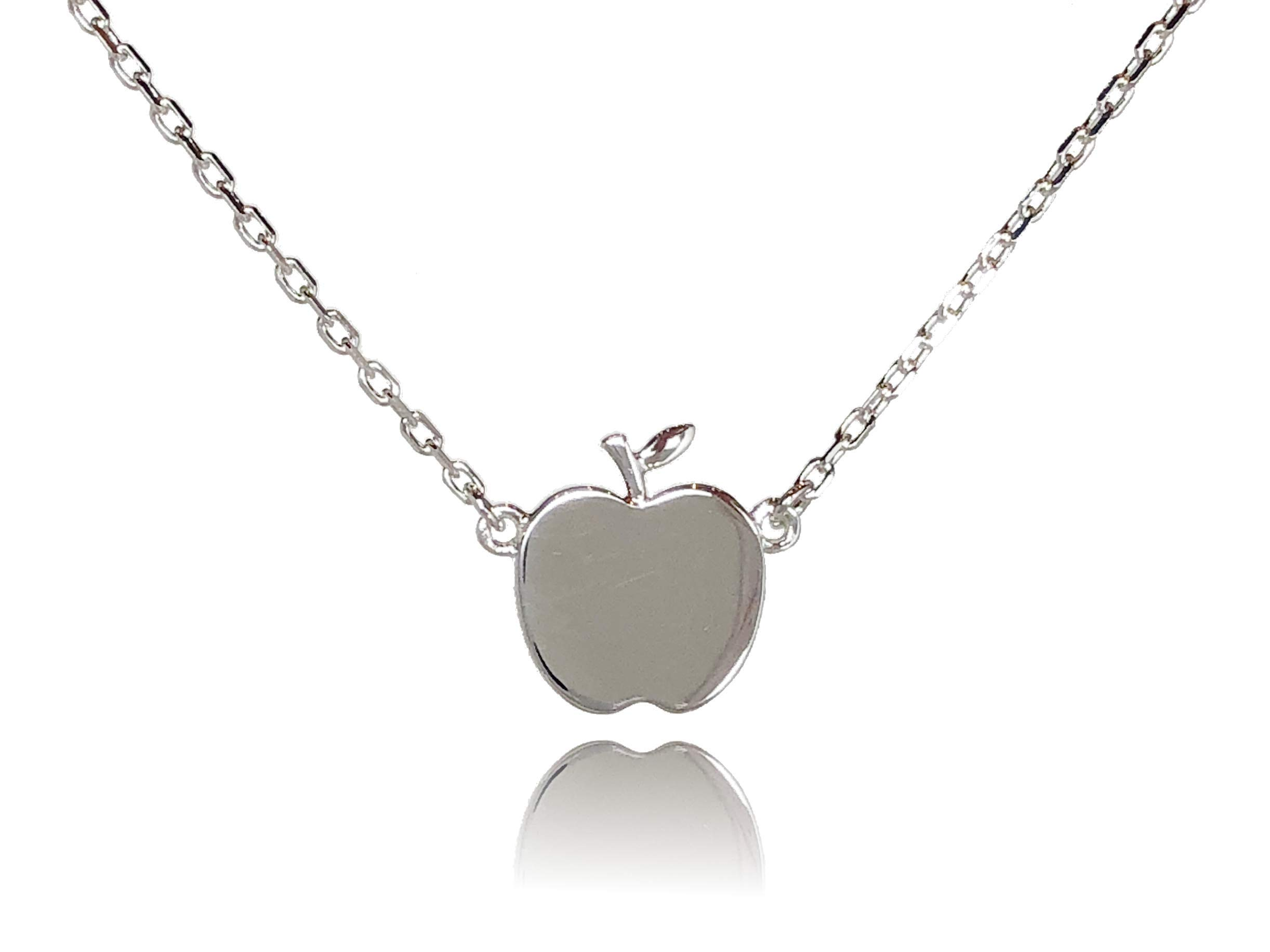 Dote Apple Teacher Pendant Dainty Genuine .925 Sterling Silver Necklace w/ 16-18'' Adjustable Chain
