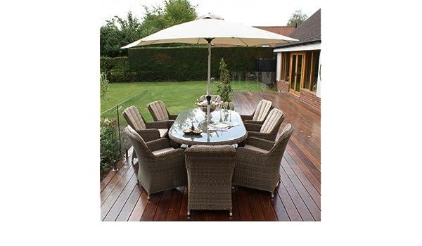 Dorset ratán muebles de jardín Venecia 8 plazas juego de comedor ...