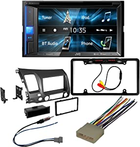 CACHÉ KIT2858 Bundle with Complete Car Stereo Installation Kit with Receiver – Compatible with 2006–2011 Honda Civic – Bluetooth Touchscreen, Backup Camera, Double Din Dash Mounting Kit (5Item)