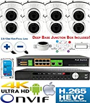 USG Sony DSP 3MP 8 Camera Security System H.265 Ultra 4K PoE IP CCTV Kit : 8x 3MP 2.8-12mm 5MP Dome Camera + 1x 36 Channel 8MP NVR + 1x 10 Port PoE Network Switch + 1x 4TB HDD : Business Grade