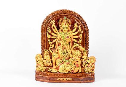 Rare Planet Durga Maa Idol Pandal Style Terracotta Maa Durga Murty Showpiece/Gift and Home Decor