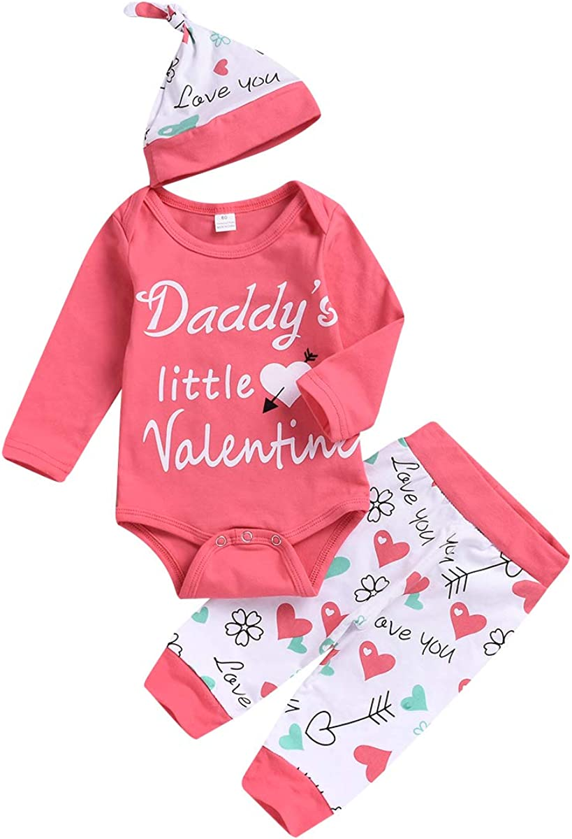 4PCS Valentines Day Outfit Baby Girl Boy Infants My First Valentines Day Long Sleeve Romper Pants Hat Headband Set