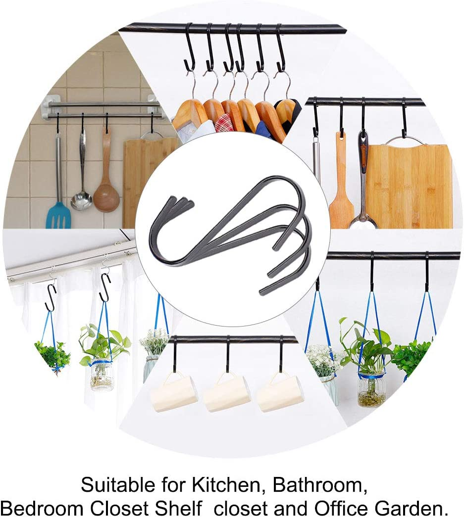 uxcell 10 Pcs S Hooks Plating Stainless Steel Flat Hook Hangers Holder Kitchen Bathroom Closet for Hanging Plants Coffee Mugs Utensils Clothes Towels Black