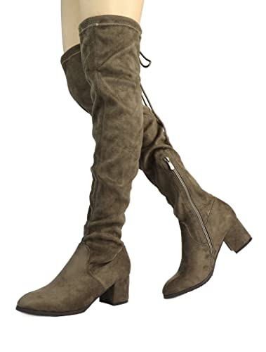 DREAM PAIRS Women s New Portz Khaki Over The Knee Thigh High Chunky Heel  Boots Size 5 33d988402