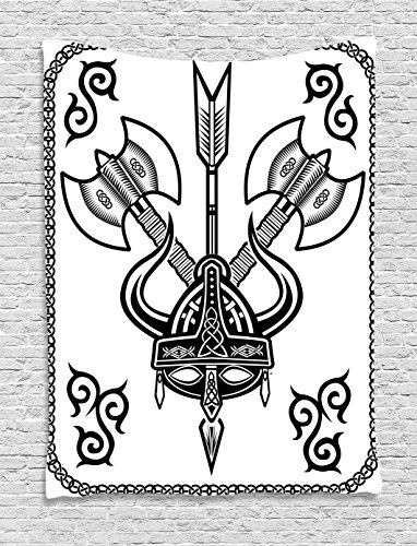 Viking Wall Hanging Tapestry by Ambesonne, Helmet with Horn Arrow Axe Antique War Celtic Style Medieval Battle Culture Art Prints, Bedroom Living Room Dorm Decor, 40 W x 60 L Inches, Black White