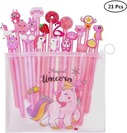 Yuccer Bolígrafos de Unicornio para Niñas Estuche Unicornio Niña Escolar Flamencos Bolígrafos para Suministros Escolares Regalo de Cumpleaños 21 Piezas
