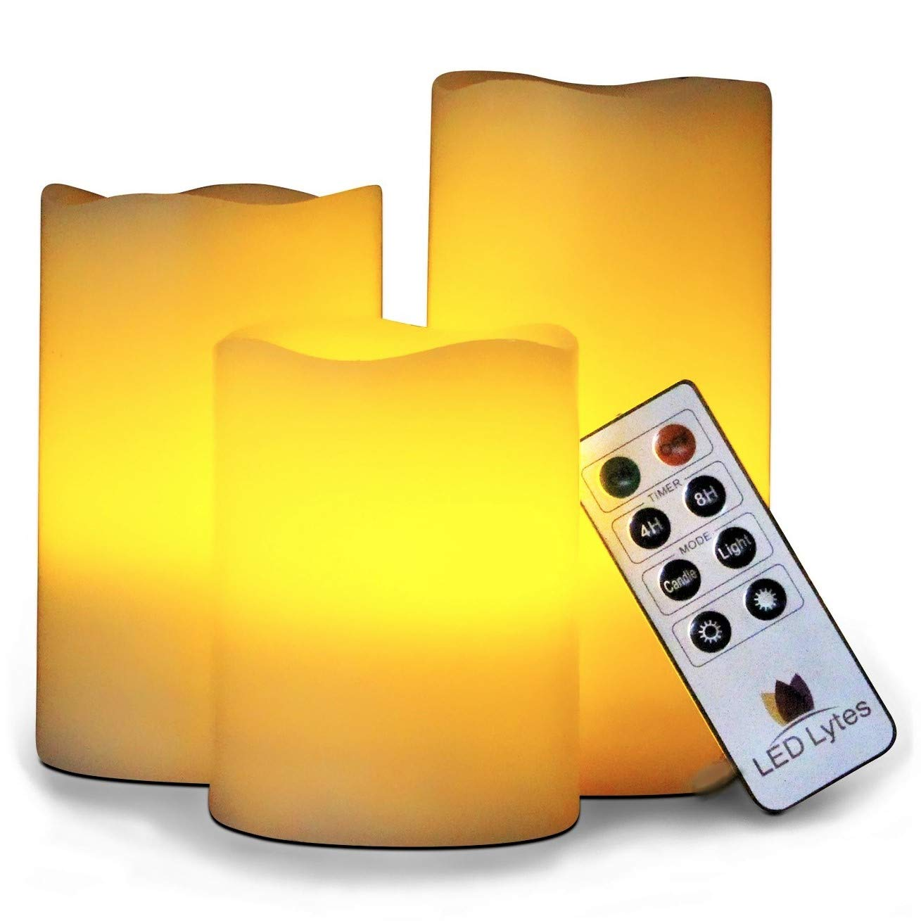 LED Lytes Flickering Flameless Candles - Set of 3 Ivory Wax Flickering Amber Yellow Flame, Auto-Off Timer Remote Control Fake Battery Operated Candles by LED Lytes (Image #1)