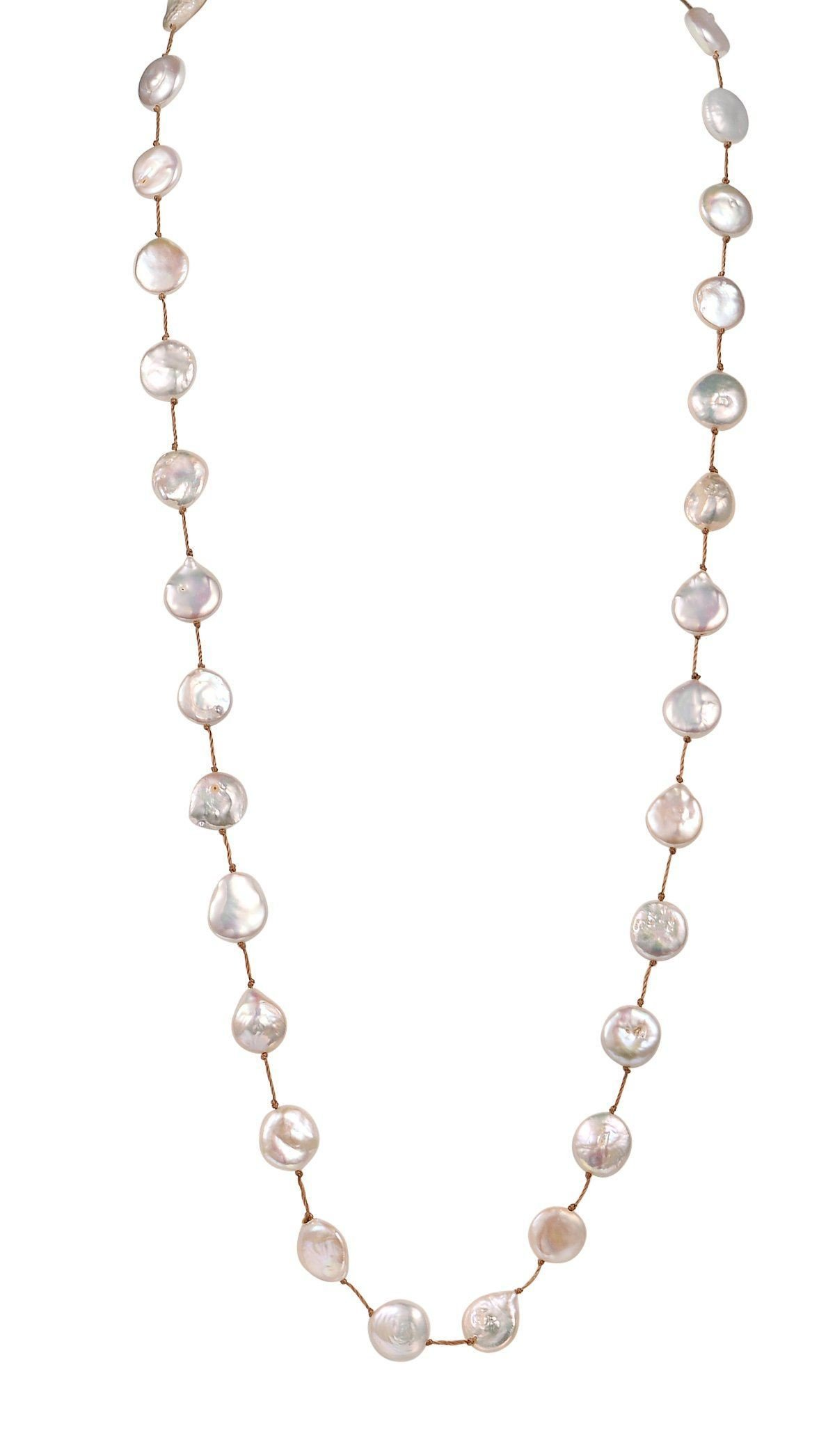 Long Coin Shaped Pearl Cord Necklace, Oxidized Silver, White Cultured Freshwater Pearls