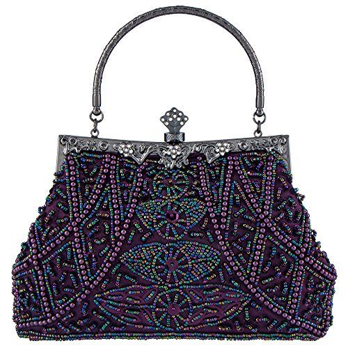 Seed Clutches Bagood Sequin Evening Handbag Bag Women's Shoulder Prom Flower Purses Wedding Vintage Bags Beaded for Purple Bridal Party ggPrwznE4