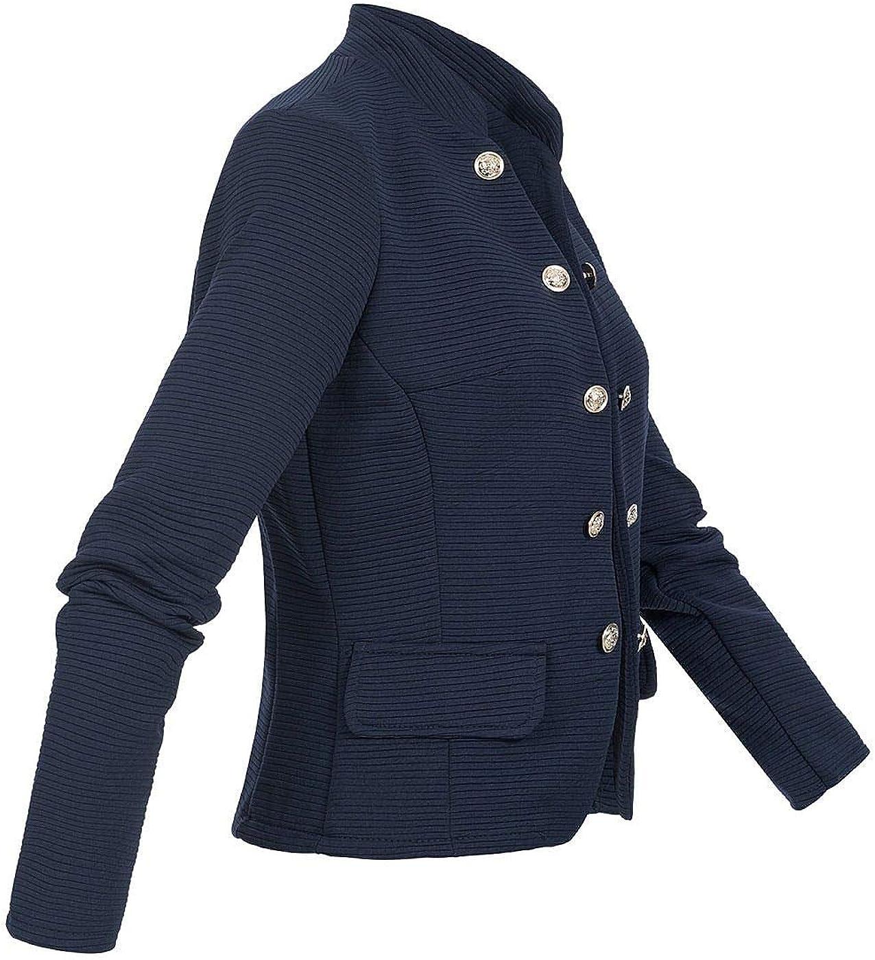 Styleboom Fashion/® Damen Blazer Jacke 2 Deko Taschen /& Kn/öpfe RIPP-Muster Weste Navy blau