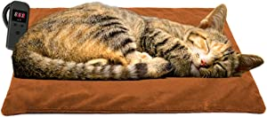 POVAST Fast Heat Cat Heating Pad, Powerful Electric Warmer Thermal Winter Cold Weather Heated Mat for Pet Dogs, Waterproof Inner Layer, Memory Function, 48W