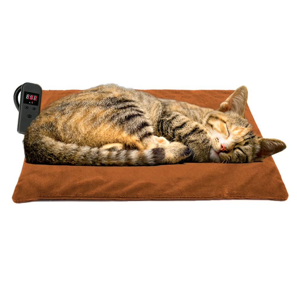 POVAST Fast Heat Cat Heating Pad, Powerful Electric Warmer Thermal Heated Mat for Pet Dogs, Waterproof Inner Layer, Memory Function, 48W by POVAST