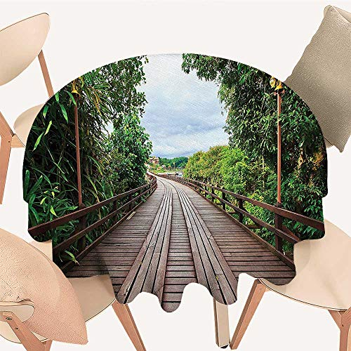 (Round Table Tablecloth Wooden Bridge Between Exotic Trees Exotic Jungle Freshening Relax Road Nature Image Brown Machine Washable, 70 INCH Round)