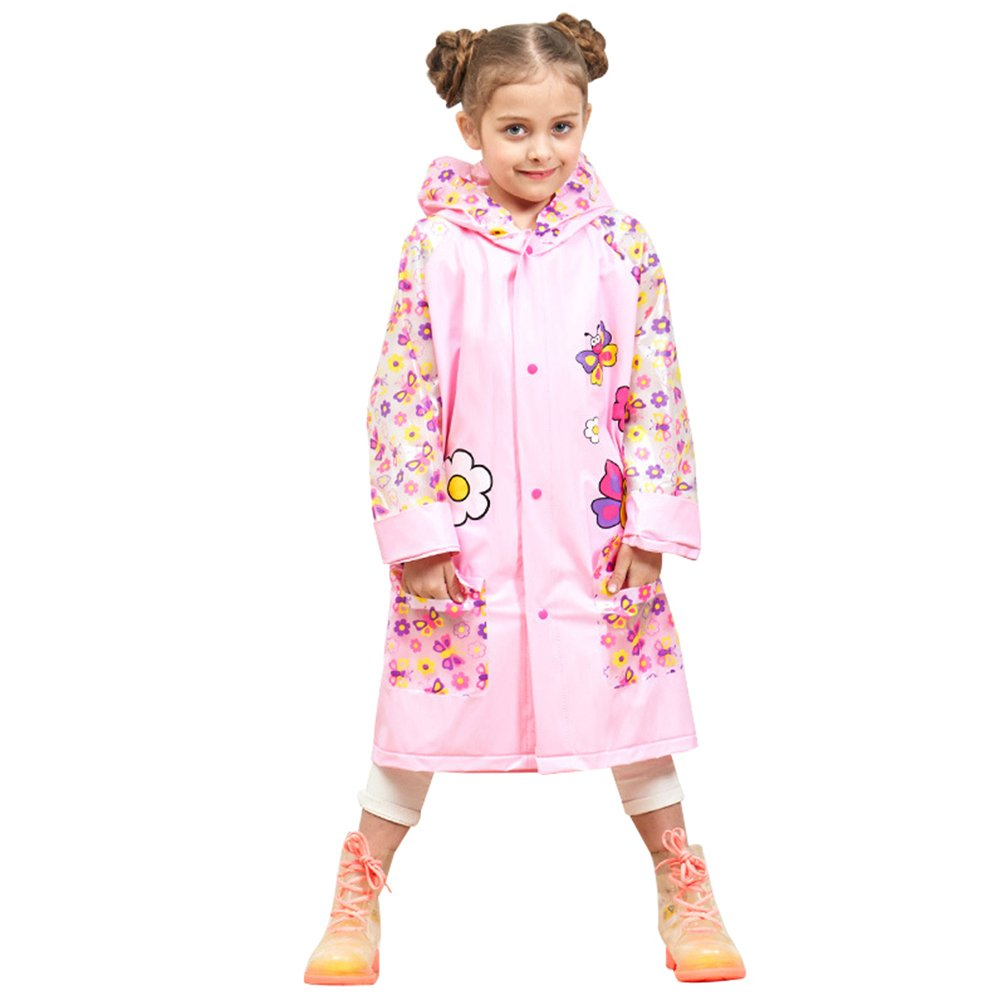 Lau's Girls Rain Jacket Animal Printed Raincoats with Hood and Backpack Position Lau's