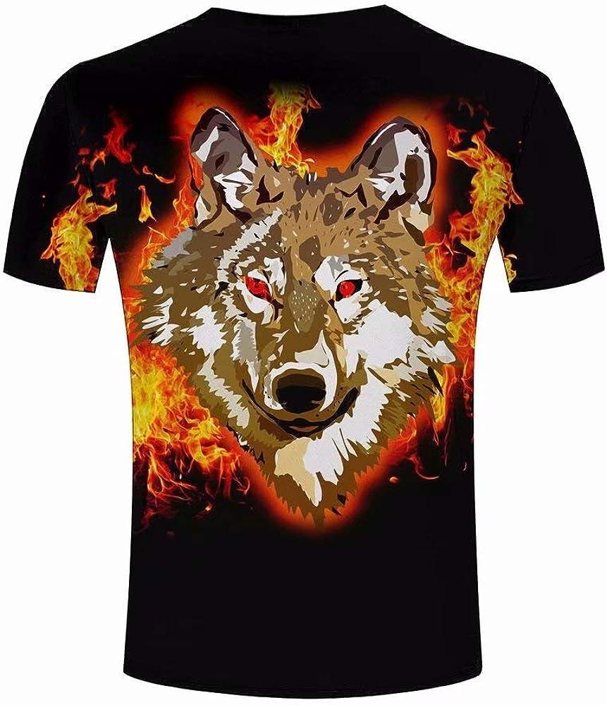 Camiseta para Hombre Lobo de Fuego Animal Funny Impreso Camisetas Manga Corta Tees Top Camisa XL: Amazon.es: Ropa y accesorios