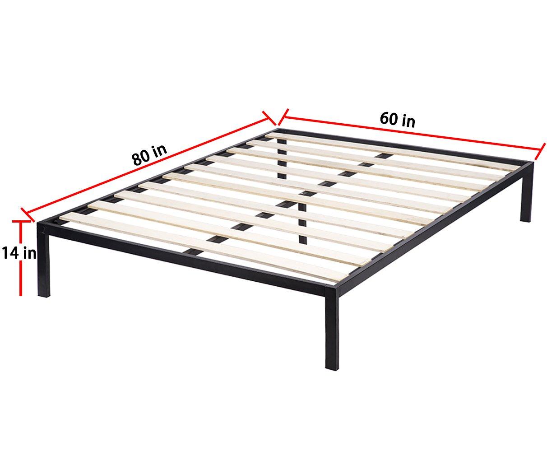 amazon com bestmassage deluxe black metal platform bed frame with