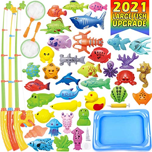CozyBomB Kids Pool Fishing Toys Games – Summer Magnetic Floating Toy Magnet Pole Rod Fish Net Water Table Bathtub Bath…