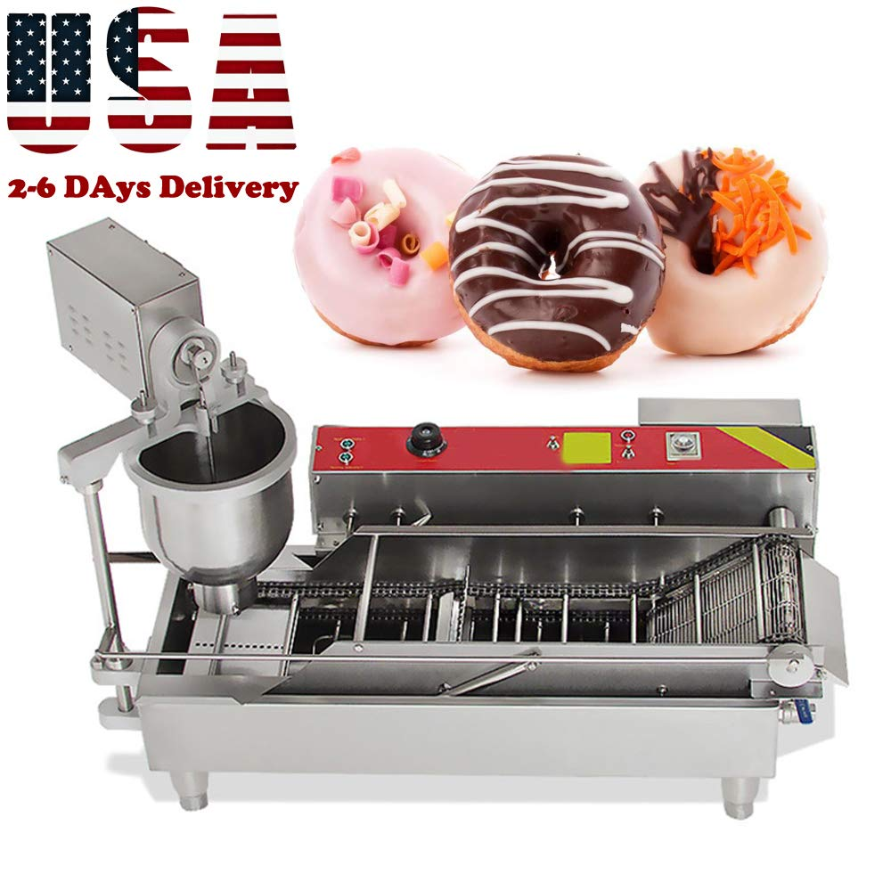 Genmine Automatic Donut Making Machine Commercial Electric Auto Doughnut Donut Maker Machine Auto Donuts Frying Molding Turning Collecting Fryer Factory 7L 110V (Can Making 3 Size Donut) (US IN STOCK) by genmine