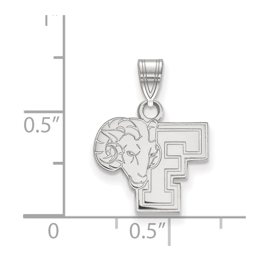 Solid 925 Sterling Silver Fordham University Small Pendant 13mm x 18mm